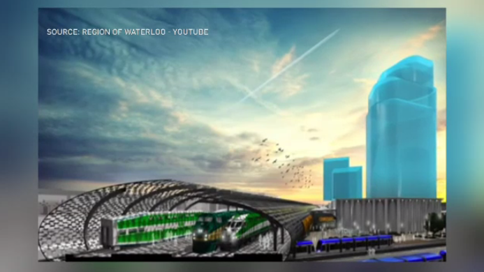 This 2015 concept art shows trains stationed at the proposed multi-use transit hub. (Region of Waterloo / Youtube)