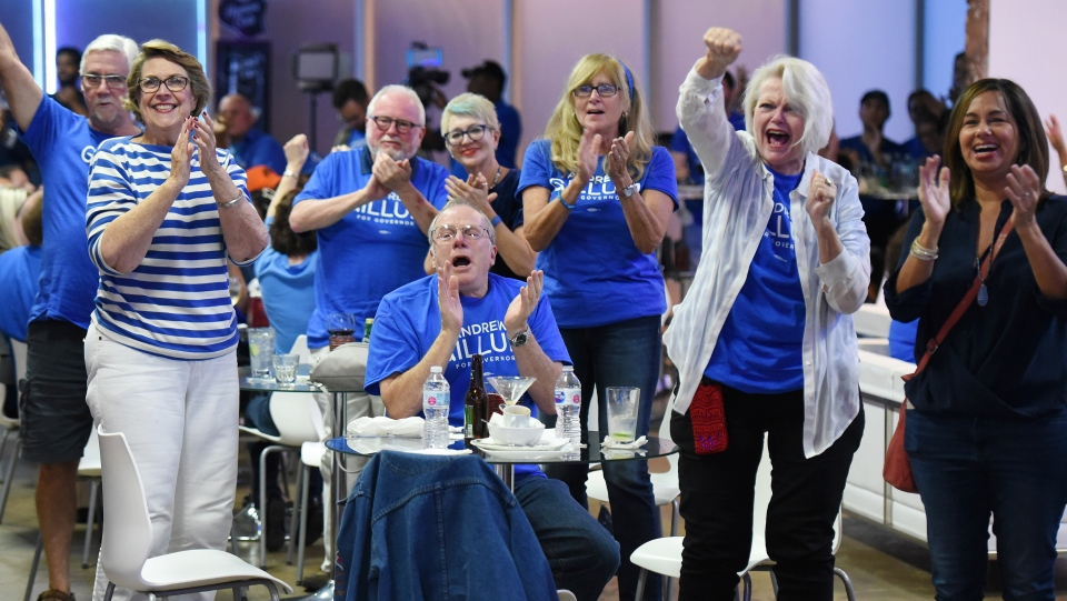 Democratic supporters react as the networks begin calling house races for Democrat candidates as they watch voting returns from the midterm elections at Cuba Libre lounge in Jacksonville, Fla., Tuesday, Nov. 6, 2018. (Bob Self/The Florida Times-Union via AP)