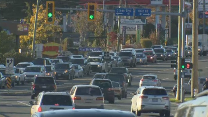 Cars were bumper-to-bumper on the Trans-Canada Highway from the West Shore to Victoria Tues., Nov. 6, 2018. (CTV Vancouver Island)
