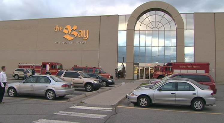 Emergency crews were called to the Bay store at the Eglinton Square shopping centre at around 7:45 p.m., Tuesday, July 7, 2009.