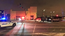A strong police presence was seen Tuesday around the Stratchona County Community Centre following explosions near the buildings parkade.