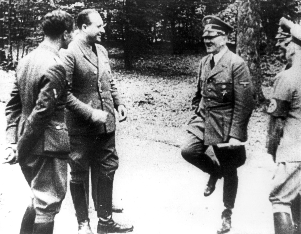 FILE - Adolf Hitler, right, at Compiegne in 1940 after dictating terms to France for their surrender, in Compiegne, north of Paris. (AP Photo)