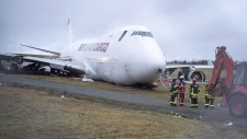 SkyLease Cargo plane skidded off a runway