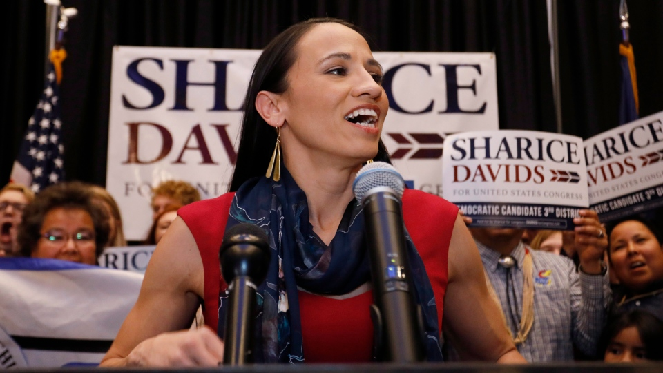 Democrat House candidate Sharice Davids speaks to supporters at a victory party in Olathe, Kan., Tuesday, Nov. 6, 2018. Davids defeated Republican incumbent Kevin Yoder to win the Kansas' 3rd Congressional District seat. (AP Photo/Colin E. Braley)