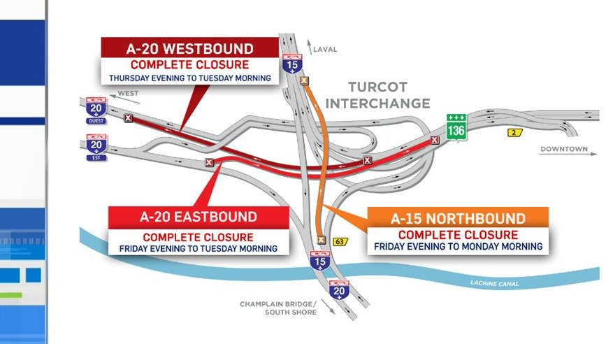 The connection from Highway 20 East to downtown closes as of midnight Thursday, while the route from downtown to points west shuts down Friday night until Tuesday morning.