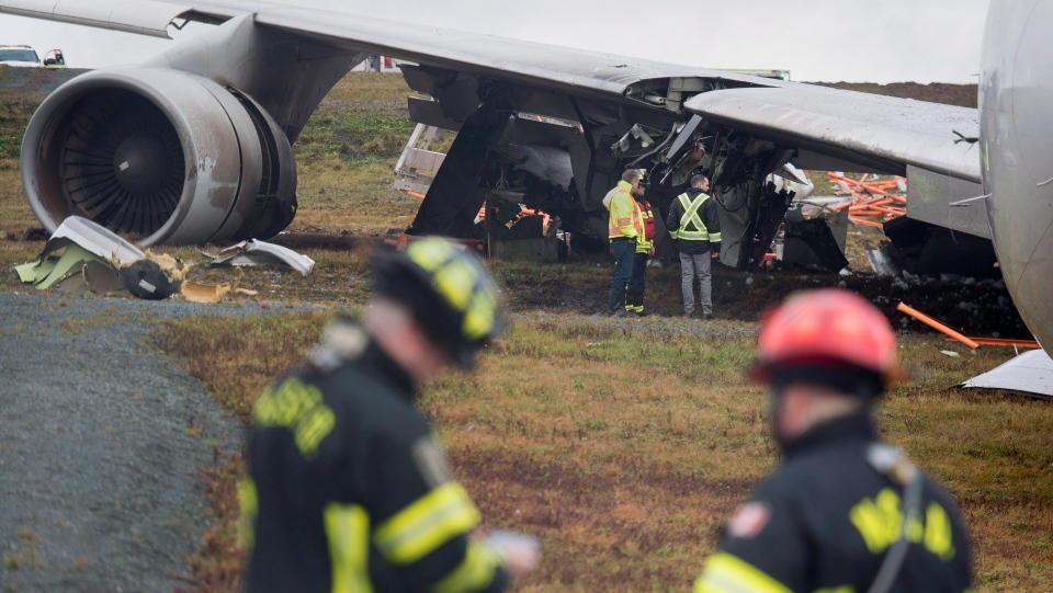 A SkyLease Cargo plane skidded off a runway at Halifax Stanfield International Airport and stopped near a road early on Wednesday, Nov. 7, 2018. THE CANADIAN PRESS/Andrew Vaughan