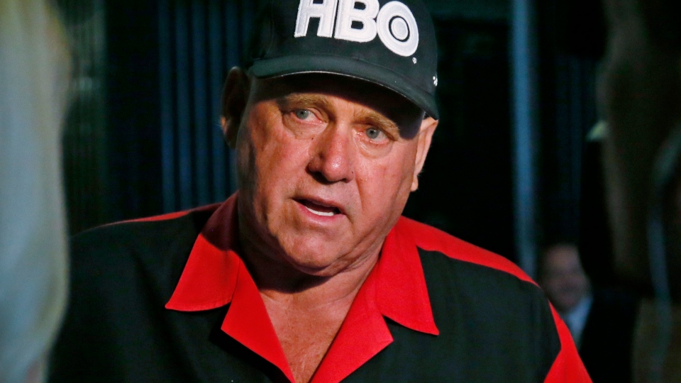In this June 13, 2016, file photo, Dennis Hof, owner of the Moonlite BunnyRanch, a legal brothel near Carson City, Nevada, is pictured during an interview in Oklahoma City. (AP Photo/Sue Ogrocki, File)