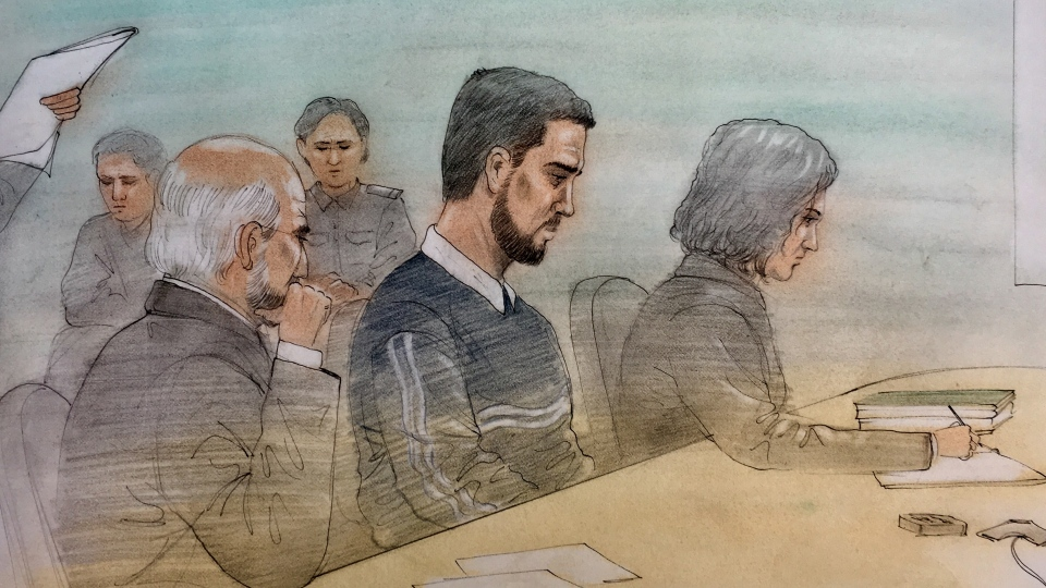 Marco Muzzo, flanked by his lawyer and parole officer, is seeking parole at a court hearing taking place in Gravenhurst, Ont. (Court sketch: John Mantha)