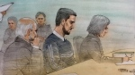 Marco Muzzo, centre, appears before a parole board on Nov. 7, 2018. (Sketch by John Mantha)