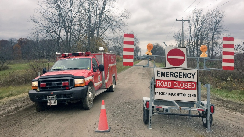 Bodkin Road was closed to traffic in the area where three bodies were found in a vehicle in Middlesex Centre, Ont., Wednesday, Nov. 7, 2018 (Sacha Long / CTV London)