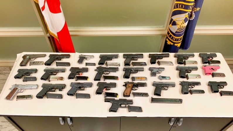 The handguns allegedly seized during Project Belair. (Toronto police handout photo)
