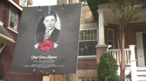Posters in Montreal West honour fallen WWII soldiers.