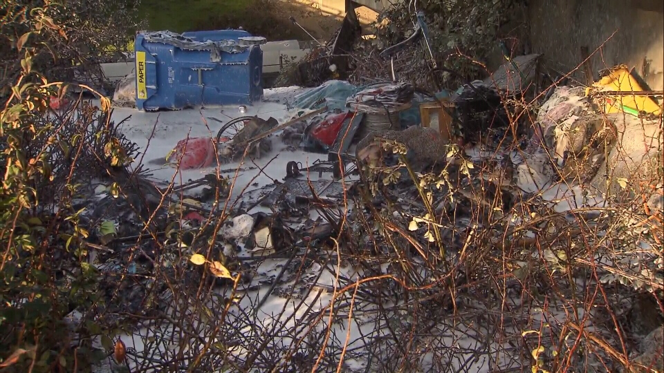 Tents, tarps, clothes and some electronics were destroyed in a fire Wednesday morning in East Vancouver.