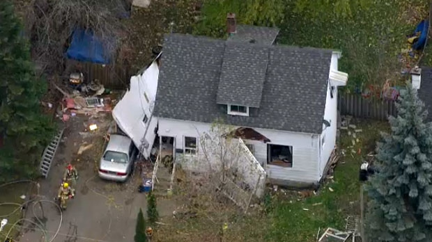 Emergency crews respond to the scene of an explosion at a residence in Whitby.