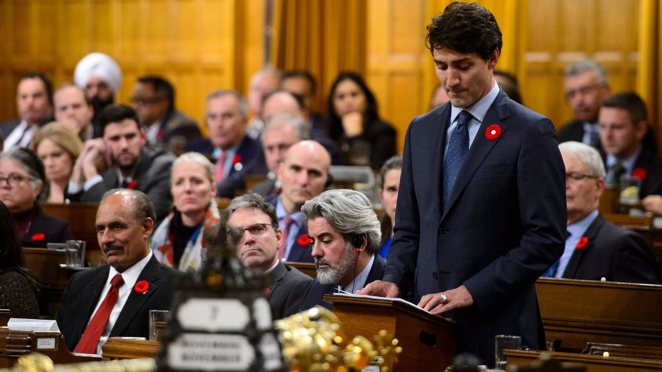 Prime Minister Justin Trudeau delivers a formal apology over the fate of the MS St. Louis and its passengers in the House of Commons on Parliament Hill in Ottawa on Wednesday, Nov. 7, 2018. (Sean Kilpatrick / THE CANADIAN PRESS)