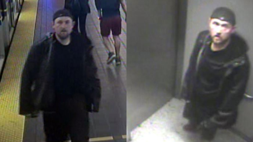 The suspect in an alleged hate crime onboard a SkyTrain is seen in these images provided by Transit Police.