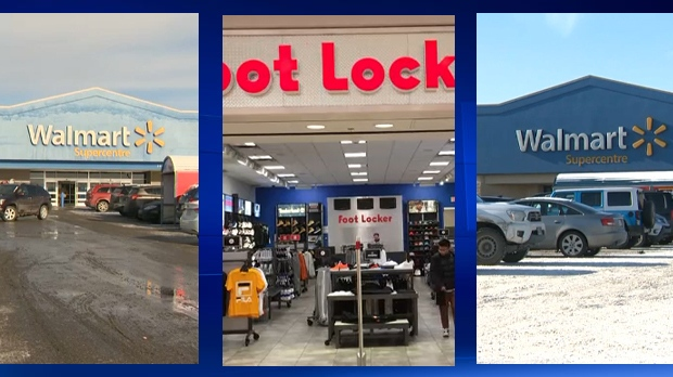 The Walmart in Royal Oak, the Foot Locker in Market Mall, and the Walmart in Westbrook Mall were targeted by a group of suspected thieves on November 6, 2018