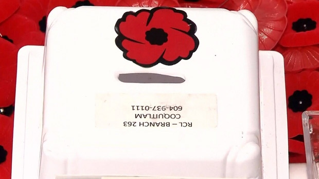 Police are searching for suspects after the thefts of two poppy donation boxes in Coquitlam, B.C. in the span of five days.