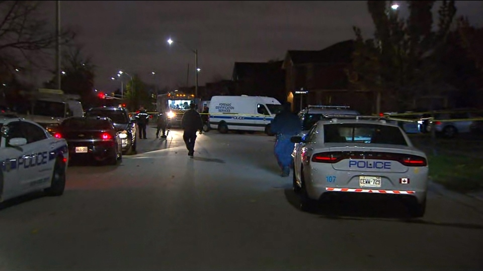 Police respond to a weapons call at a home in Mississauga where a woman was found in critical condition Wednesday November 7, 2018.