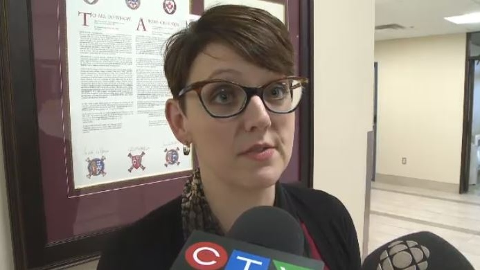 Desiree Vassallo, spokesperson for the Cape Breton Regional Police, speaks to the media on Nov. 7, 2018.