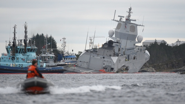 Tanker rams Norwegian Navy frigate tearing hole in its side