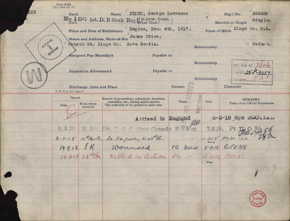 The casualty record for Pvt. George Lawrence Price is seen in a handout image. (THE CANADIAN PRESS / Handout photo / Library and Archives Canada)