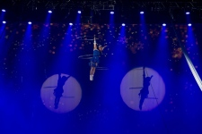 Aerialists perform to popular holiday classics