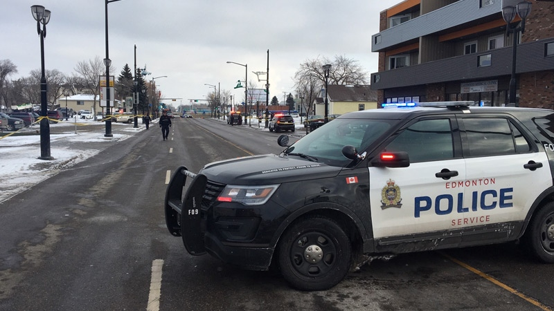 Police closed a section of 118 Ave. between 80 St. and 78 St. after a pedestrian was struck by a car on Thursday, Nov. 8, 2018.