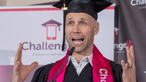 Former Montreal Canadiens player Steve Begin gives his speech after receiving his high school diploma Thursday, November 8, 2018 in Montreal. Begin used a new app that allowed him to finish his courses online with his smart phone.THE CANADIAN PRESS/Ryan Remiorz