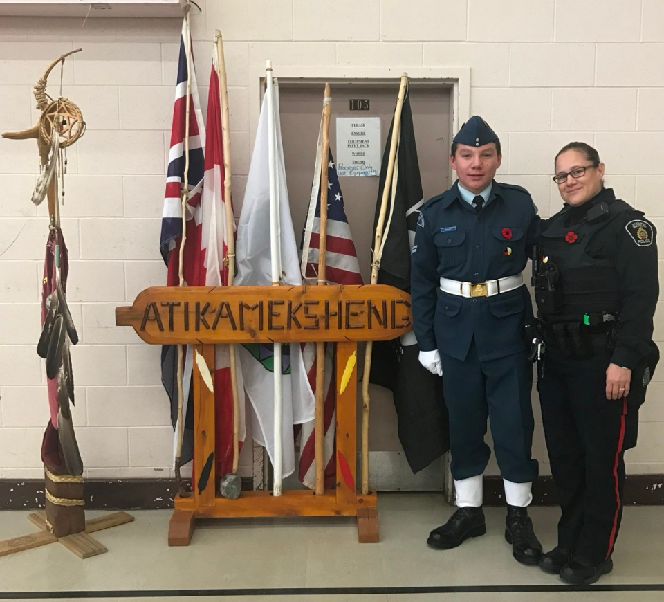 Celebrating National Aboriginal Veterans Day on Atikameksheng Anishnawbek First Nation.