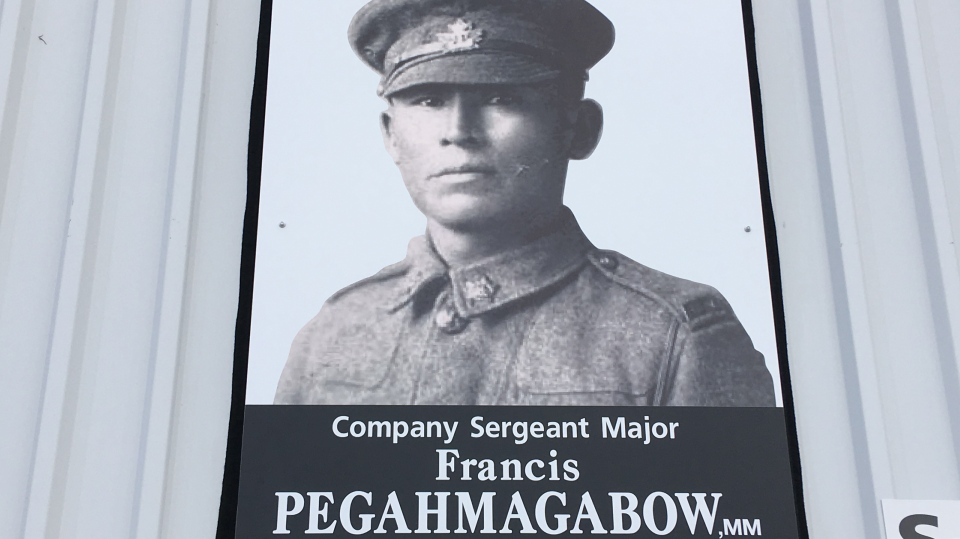 Francis Pegahmagabow, a WWI veteran, was honoured at CFB Borden on Thursday, November 8, 2018 (CTV News/KCColby)