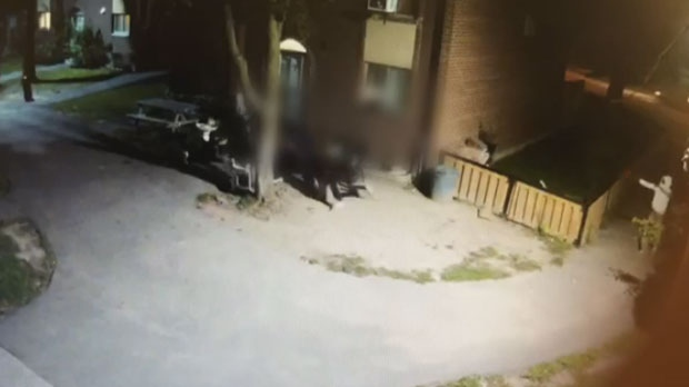 Surveillance footage of a shooting that took place near John Garland Boulevard and Martin Grove Road in Rexdale on Aug. 30, 2018.