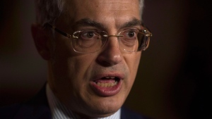 MP Tony Clement speaks with the media about the Liberal government's decision to embrace the Iranian regime on Parliament Hill in Ottawa on Monday, May 2, 2016. THE CANADIAN PRESS/Adrian Wyld