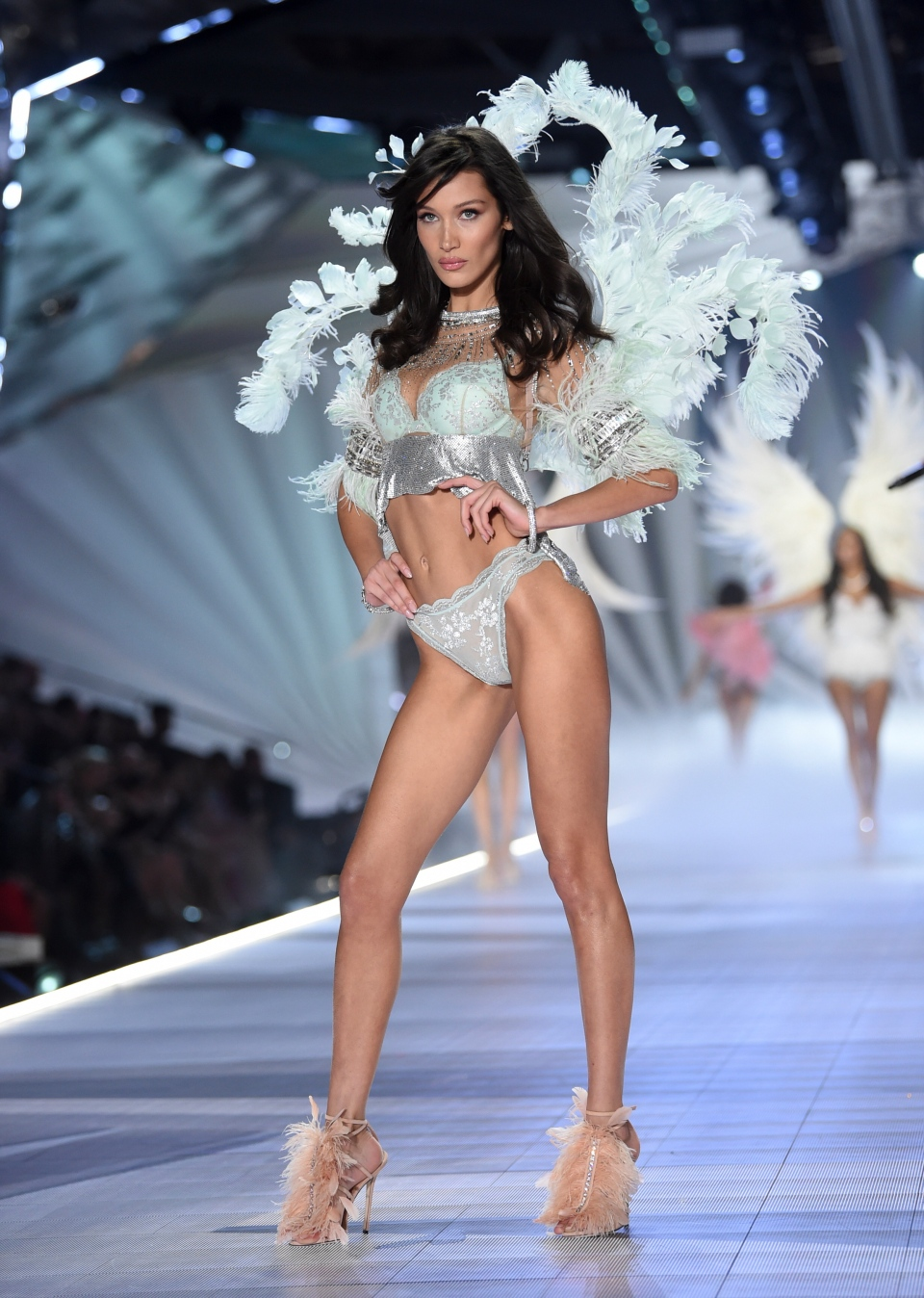 Model Bella Hadid walks the runway during the 2018 Victoria's Secret Fashion Show at Pier 94 on Thursday, Nov. 8, 2018, in New York. (Photo by Evan Agostini/Invision/AP)