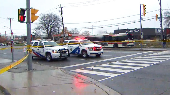 Toronto police block off an intersection in Scarborough where a pedestrian was struck and killed on Nov. 9, 2018.