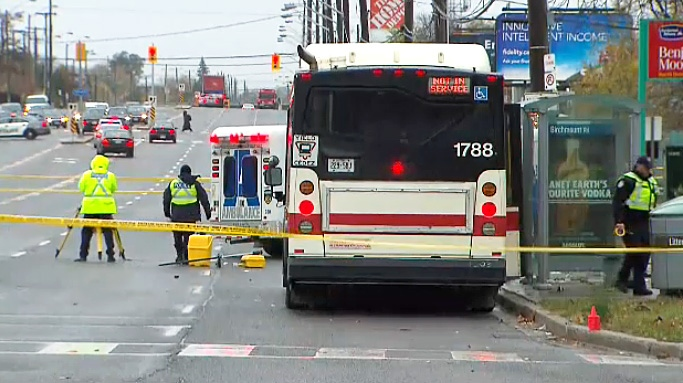 Toronto police and TTC investigators at the scene of a fatal collision involving pedestrians, reportedly standing at a bus stop when struck, on Nov. 9, 2018.