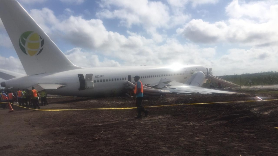 The Boeing 757 plane's right wing and engine were badly damaged in the accident. (Cheddi Jagan International Airport / Facebook)