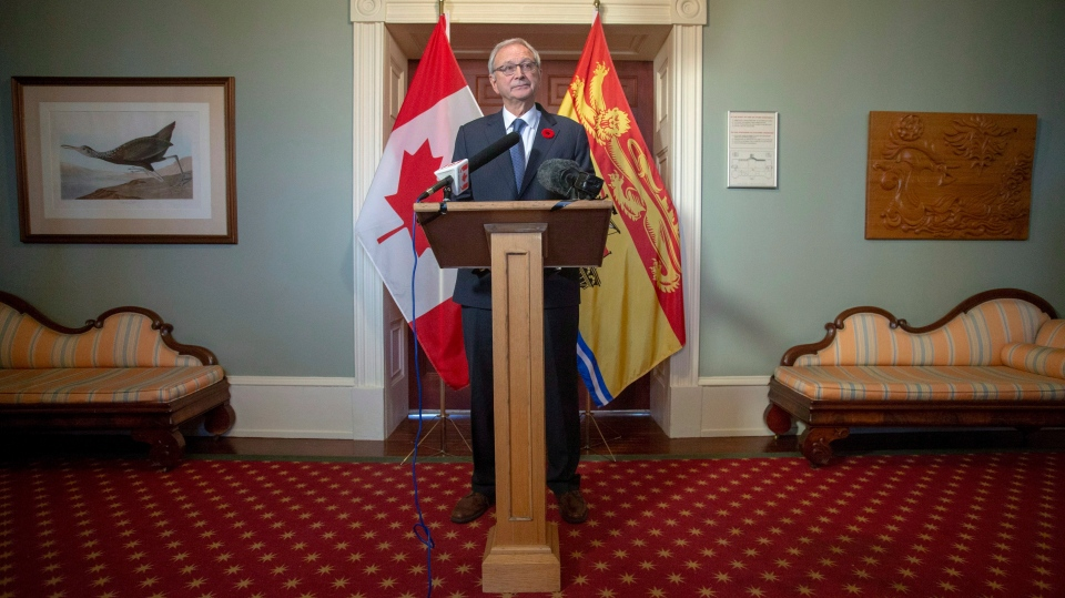 New Brunswick Progressive Conservative Leader Blaine Higgs answers questions from the media after meeting with Lieutenant Governor of New Brunswick Jocelyne Roy-Vienneau at Government House in Fredericton on Friday, Nov. 2, 2018. THE CANADIAN PRESS/James West