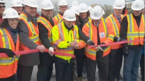 Federal Infrastructure Minister Francois-Philippe Champagne inaugurated the new Nuns' Island bridge on Friday Nov. 9, 2018 with a ribbon-cutting ceremony.