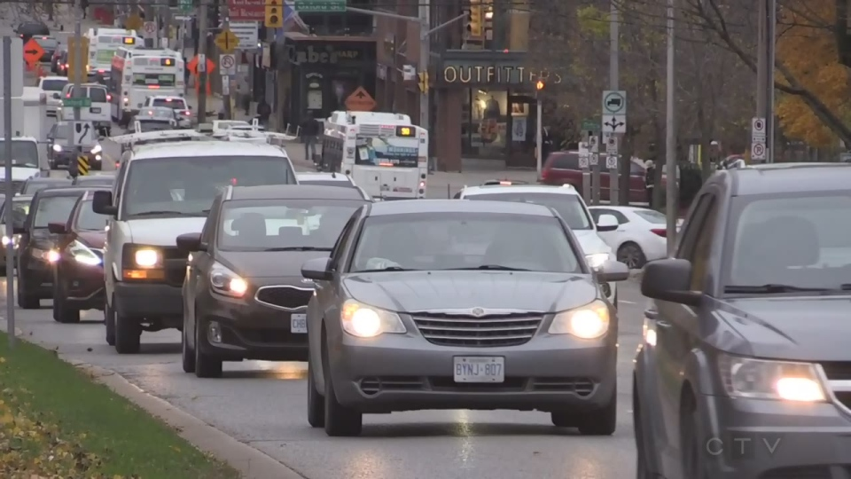 Traffic runs along Richmond Street in London, Ont. on Thursday, Nov. 9, 2018. (Daryl Newcombe / CTV London)