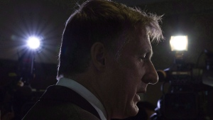 Maxime Bernier speaks with the media after filing papers for the Peoples Party of Canada at the Elections Canada office in Gatineau, Que., Wednesday, October 10, 2018. THE CANADIAN PRESS/Adrian Wyld