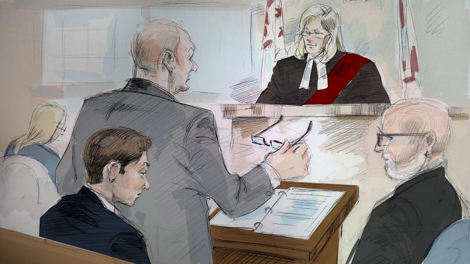 Vittorio Dominelli appears in court on charges related to an incident where he and a fellow officer allegedly ate marijuana edibles while on duty. (Sketch by Alexandra Newbould)