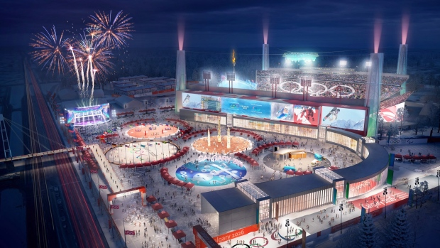 An artist's rendering of a refurbished McMahon Stadium in Calgary is seen in this handout image. THE CANADIAN PRESS/HO, Calgary 2026 Bid Corporation
