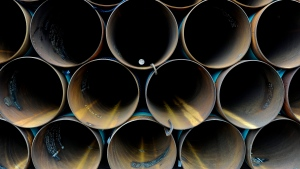 Piping to be used for the Keystone XL pipe line from Cushing, Oklahoma to the Gulf of Mexico sits stacked at a storage yard at TransCanada Pipe Yard near Cushing, Oklahoma, USA, 21 March 2012 (reissued 09 November 2018). EPA/LARRY W. SMITH