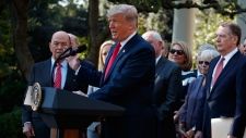 President Donald Trump speaks during a news conference on trade among the United States, Canada and Mexico, and the nomination of of Brett Kavanaugh to the Supreme Court, in the Rose Garden of the White House, Monday, Oct. 1, 2018, in Washington. (AP / Evan Vucci)