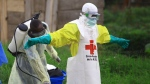 In this Sunday, Sept 9, 2018 file photo, a health worker sprays disinfectant on his colleague after working at an Ebola treatment centre in Beni, Eastern Congo. (AP Photo/Al-hadji Kudra Maliro, FILE)