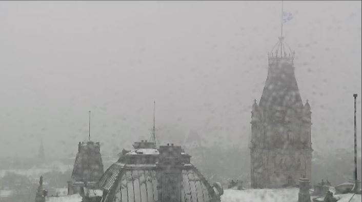 Roof cameras by the National Assembly captured the beginnings of a 15-20 cm dumping of snow expected to hit areas of Quebec on Saturday, November 10. (CTV Montreal)