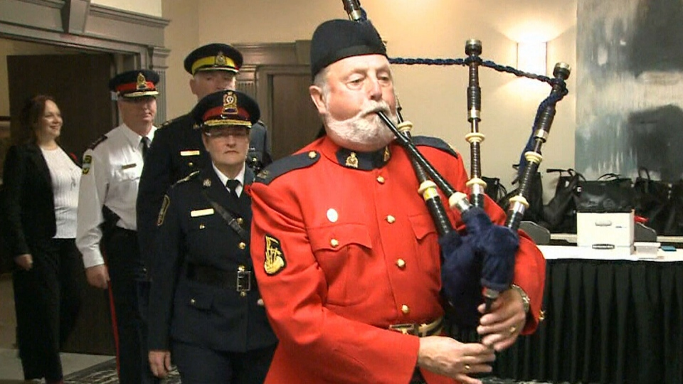 Hugh Goldie plays his grandfather's bagpipes, which survived both world wars.