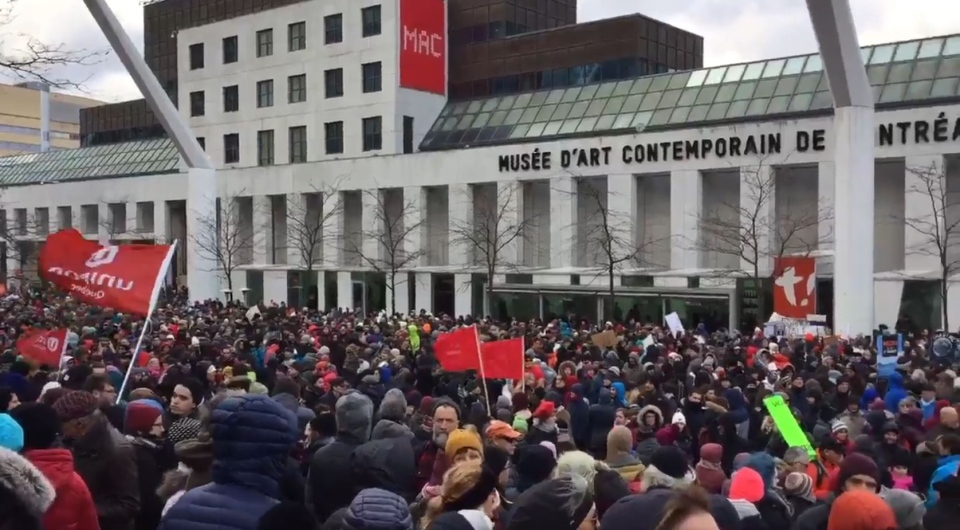 The crowd - thousands strong - gathered at Place des Festivals for a march against climate change on Saturday, November 10. (CTV Montreal)