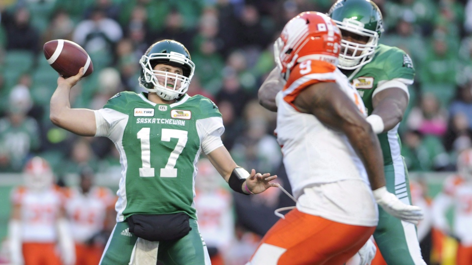 Saskatchewan Roughriders quarterback Zach Collaros looks downfield for a receiver during first half CFL action in Regina on October 27, 2018. Roughriders quarterback Zach Collaros will start on Sunday in the West Division semifinal against the Winnipeg Blue Bombers. Saskatchewan announced the decision on Twitter after speculation surrounded Collaros's health all week. THE CANADIAN PRESS/Mark Taylor